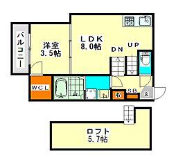 愛知県名古屋市港区七番町の賃貸アパートの間取り