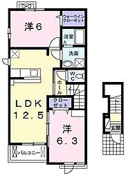 東京都青梅市谷野の賃貸アパートの間取り