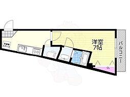 阪急京都本線 上新庄駅 徒歩5分の賃貸アパート 4階1Kの間取り
