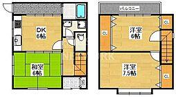 [一戸建] 京都府京都市南区東九条松田町 の賃貸【/】の間取り