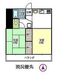コーポ山田 A棟[2号室]の間取り