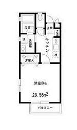 小田急小田原線 玉川学園前駅 徒歩9分の賃貸アパート 2階1Kの間取り