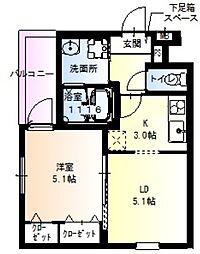 フジパレス井高野駅西II番館 1階1LDKの間取り