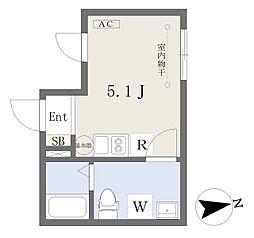 小田急小田原線 経堂駅 徒歩4分の賃貸マンション 5階ワンルームの間取り