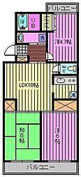 埼玉県さいたま市浦和区上木崎2丁目の賃貸マンションの間取り