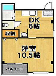 ファースト梅香[4階]の間取り