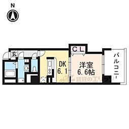 JR東海道・山陽本線 京都駅 徒歩9分の賃貸マンション 5階1DKの間取り