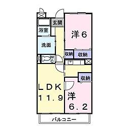 パ−クアヴェニュ−[4階]の間取り