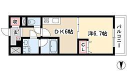 メイボーテセラ 2階1DKの間取り