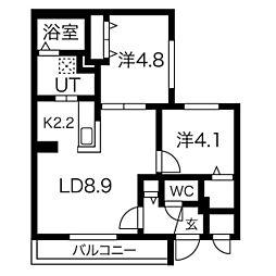 札幌市営南北線 澄川駅 徒歩8分の賃貸マンション 3階2LDKの間取り