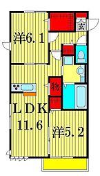 埼玉県八潮市古新田の賃貸アパートの間取り