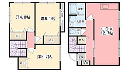 [テラスハウス] 兵庫県姫路市土山2丁目 の賃貸【/】の間取り