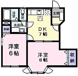 東京都あきる野市三内の賃貸アパートの間取り