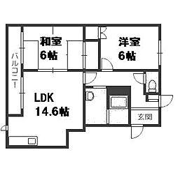 北海道札幌市豊平区平岸二条14丁目の賃貸マンションの間取り