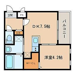 西鉄天神大牟田線 西鉄久留米駅 徒歩5分の賃貸アパート 2階1DKの間取り