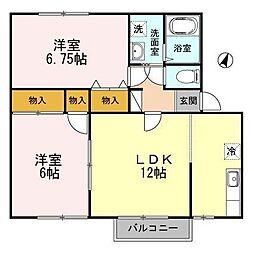リバティ中川口B[2階]の間取り