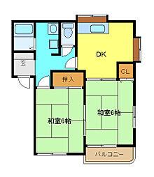 埼玉県春日部市武里中野の賃貸アパートの間取り