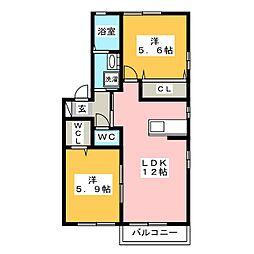 パープルコート塩浸 E棟[1階]の間取り