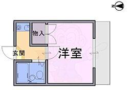 大和高田第20マンション 2階1Kの間取り