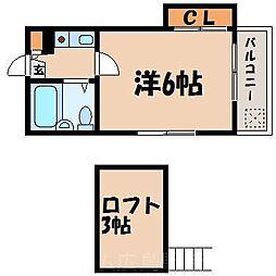 広島県広島市東区戸坂桜東町の賃貸アパートの間取り