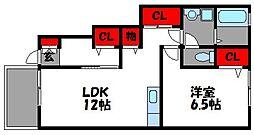 グランドソレイユ 1階1LDKの間取り