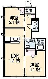 岡山県岡山市東区金岡西町の賃貸アパートの間取り