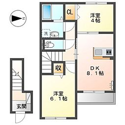 JR可部線 あき亀山駅 徒歩6分の賃貸アパート 2階2DKの間取り