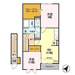 埼玉県さいたま市南区広ケ谷戸の賃貸アパートの間取り