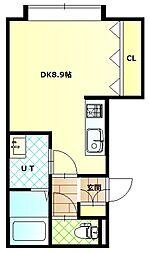 深堀町新築アパートA棟 1階ワンルームの間取り
