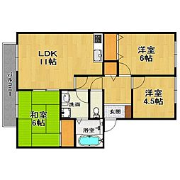 兵庫県伊丹市中野東1丁目の賃貸アパートの間取り