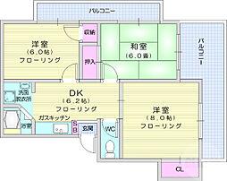 寺崎ハイツ 2階3DKの間取り