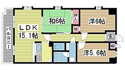 プリオーレ神戸山ノ手[106号室]の間取り