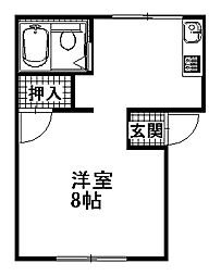 茨城県那珂市後台の賃貸アパートの間取り