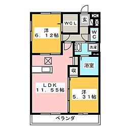 (仮)サンアネックスふじみ野II 2階2LDKの間取り