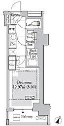 東京メトロ丸ノ内線 御茶ノ水駅 徒歩10分の賃貸マンション 4階1Kの間取り