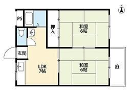 福岡県北九州市小倉北区泉台3丁目の賃貸アパートの間取り