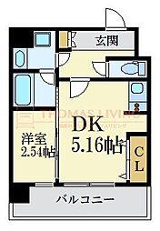福岡市地下鉄七隈線 薬院大通駅 徒歩5分の賃貸マンション 8階1DKの間取り
