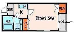 アークハウス2 3階1Kの間取り