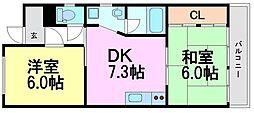 兵庫県尼崎市西難波町3丁目の賃貸マンションの間取り