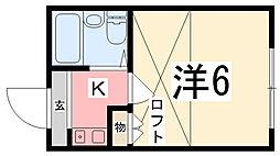 兵庫県姫路市飾磨区今在家2丁目の賃貸アパートの間取り