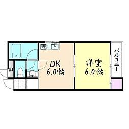 鶴橋ドリームハイツ[5B号室]の間取り