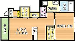 仮)東二島3丁目新築アパート[1階]の間取り