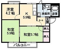 岡山県倉敷市連島中央1丁目の賃貸アパートの間取り