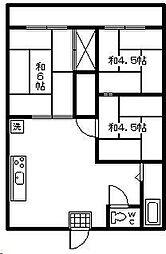 レピュート石川[A201号室]の間取り