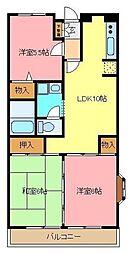 埼玉県さいたま市緑区東浦和6丁目の賃貸マンションの間取り