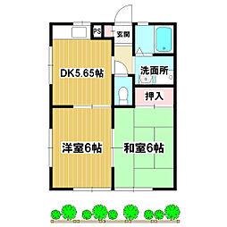 松本ハイツ 1階2DKの間取り