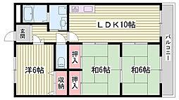 兵庫県明石市小久保4丁目の賃貸マンションの間取り