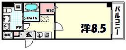 ヴィラ神戸7 1階1Kの間取り