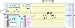 仙台市地下鉄東西線 川内駅 徒歩12分の賃貸アパート 2階1Kの間取り