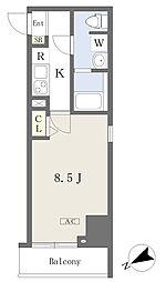 都営新宿線 本八幡駅 徒歩1分の賃貸マンション 4階1Kの間取り
